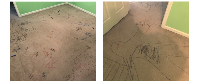 drawings on floor of a home