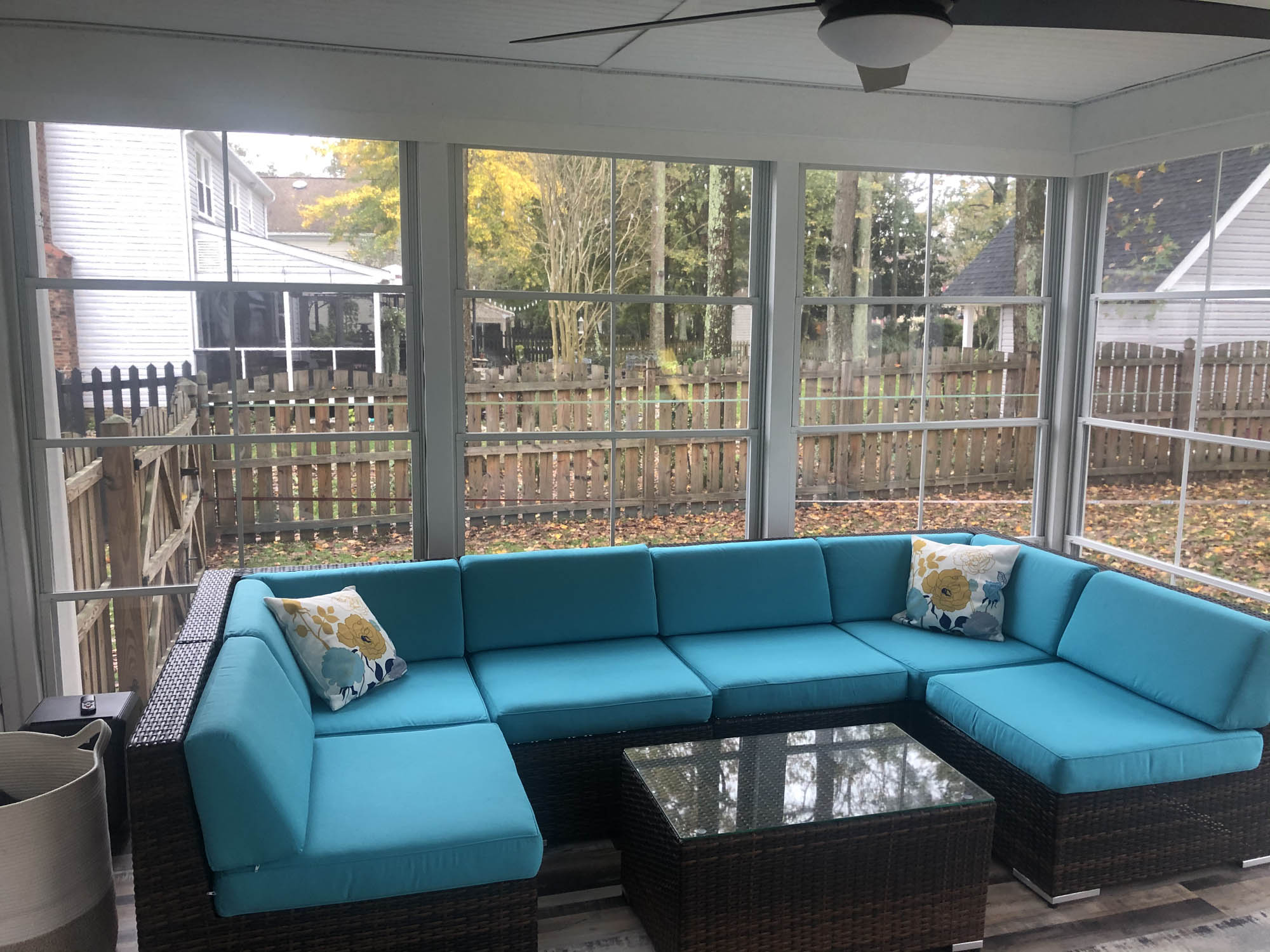 small blue couch